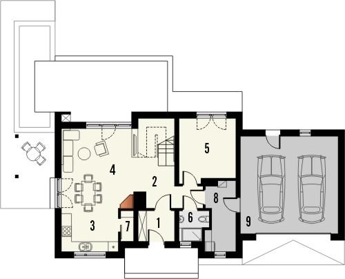 Projekt domu Umbria 2 2G - rzut parteru