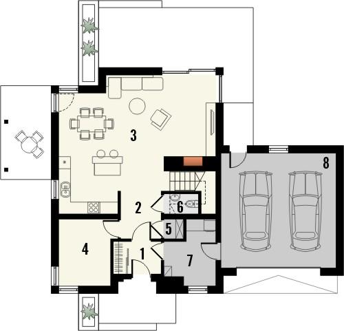 Projekt domu Maestro 2G - rzut parteru
