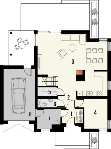 Projekt domu Grappa - rzut parteru