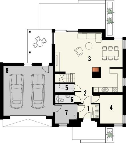 Projekt domu Grappa 2G - rzut parteru