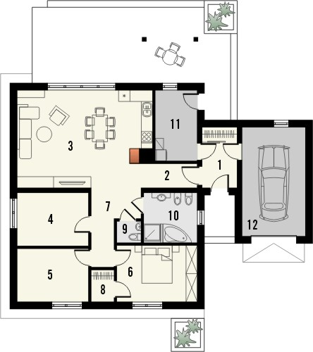 Projekt domu Kalambur - rzut parteru