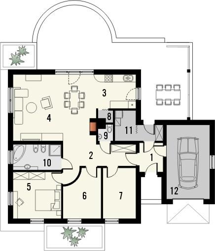 Projekt domu Euforia - rzut parteru