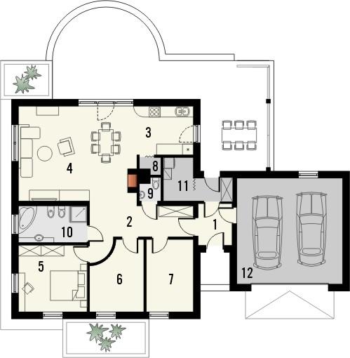 Projekt domu Euforia 2G - rzut parteru