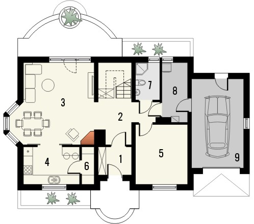 Projekt domu Aroma 2 - rzut parteru