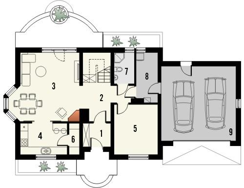Projekt domu Aroma 2 2G - rzut parteru