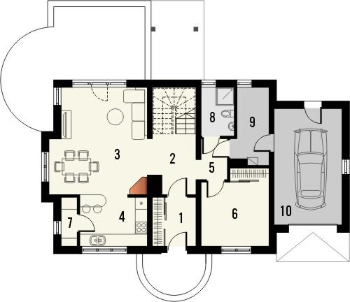 Projekt domu Enklawa 2 - rzut parteru