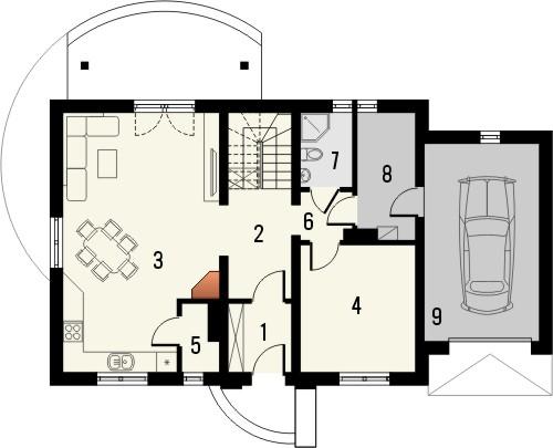 Projekt domu Granat 2 - rzut parteru