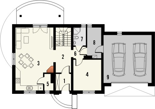 Projekt domu Granat 2 2G - rzut parteru
