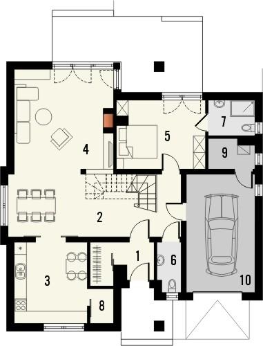 Projekt domu Amalfi 2 - rzut parteru