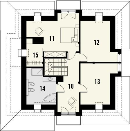Projekt domu Amfilada 2 - rzut poddasza