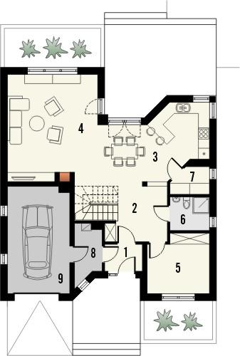 Projekt domu Malaga 2 - rzut parteru