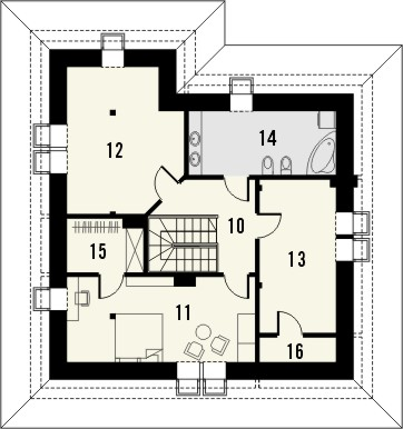 Projekt domu Malaga 2 - rzut poddasza