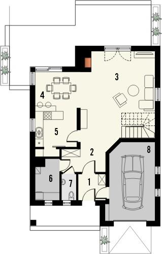 Projekt domu Eden 2 - rzut parteru