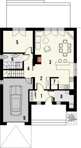Projekt domu Omega 2 - rzut parteru