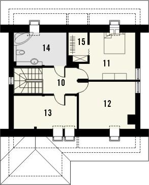 Projekt domu Omega 2 - rzut poddasza