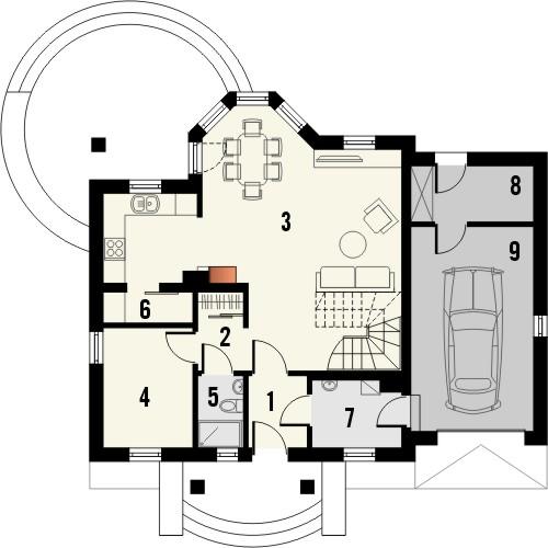 Projekt domu Lira 3 - rzut parteru