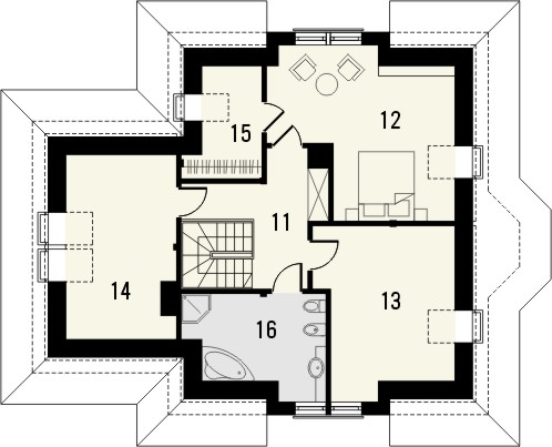 Projekt domu Mokka 2 - rzut poddasza