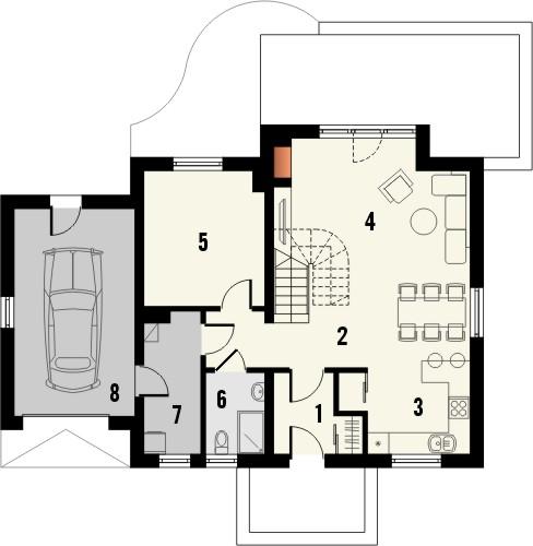 Projekt domu Wasabi - rzut parteru