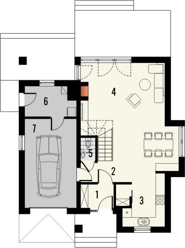 Projekt domu Bella 5 - rzut parteru