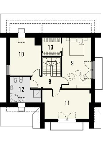 Projekt domu Bella 5 - rzut poddasza