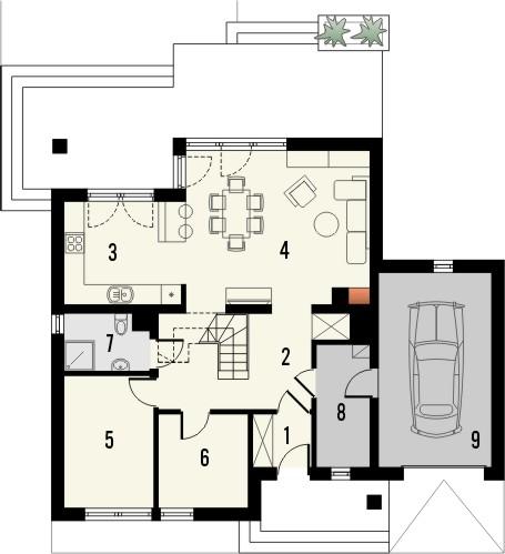 Projekt domu Laguna 2 - rzut parteru
