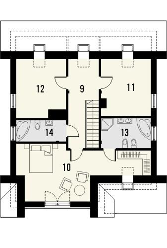 Projekt domu Klasyka 4 - rzut poddasza