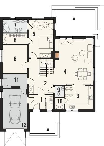 Projekt domu Verona 2 - rzut parteru