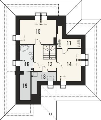 Projekt domu Verona 2 - rzut poddasza