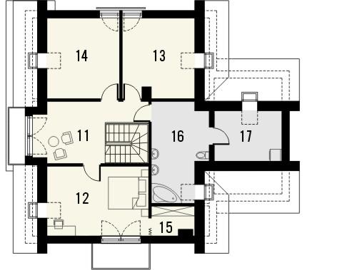 Projekt domu Rozalin 2 - rzut poddasza