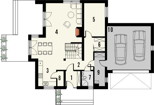 Projekt domu Rozalin 2 2G - rzut parteru