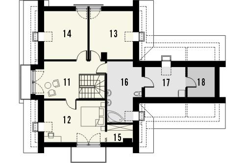 Projekt domu Rozalin 2 2G - rzut poddasza