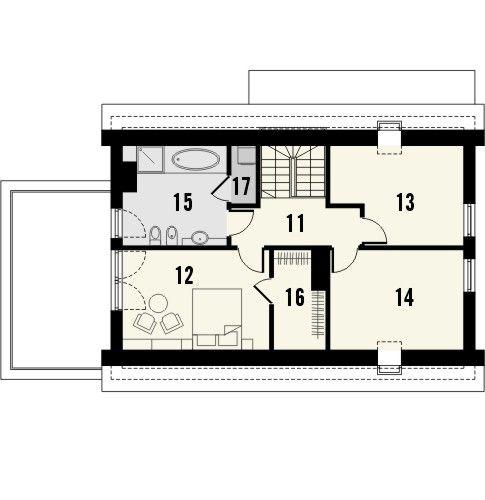 Projekt domu Astoria - rzut poddasza