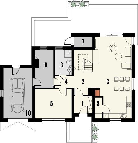 Projekt domu Astoria - rzut parteru