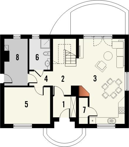Projekt domu Cekin 2 - rzut parteru