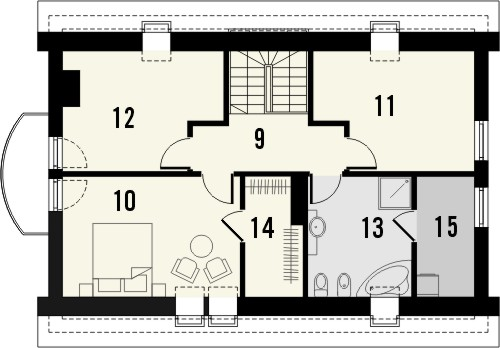 Projekt domu Cekin 2 - rzut poddasza