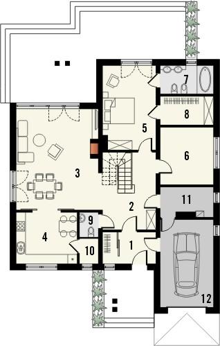 Projekt domu Verona 3 - rzut parteru