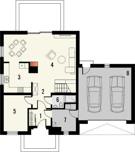 Projekt domu Adorator - rzut parteru