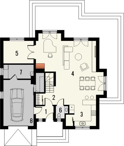 Projekt domu Ikebana 2 - rzut parteru
