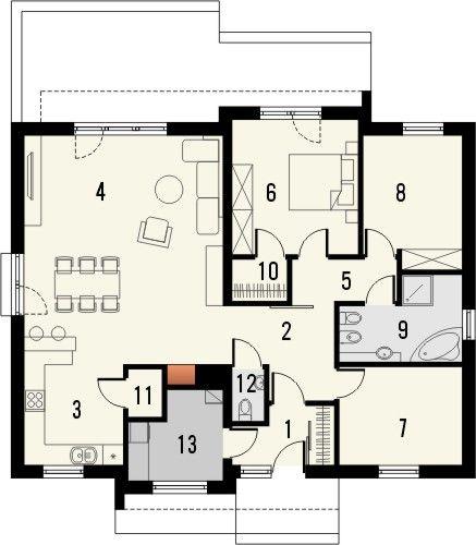 Projekt domu Dimaro - rzut parteru