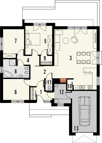 Projekt domu Dimaro 2 - rzut parteru