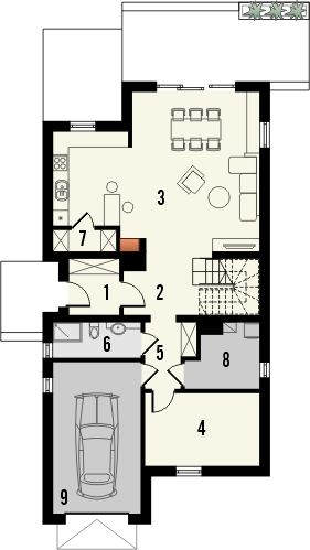 Projekt domu Inicjał - rzut parteru