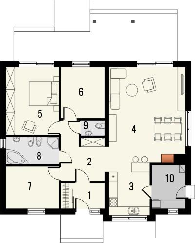 Projekt domu Cypr - rzut parteru