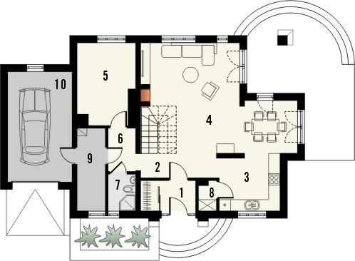 Projekt domu Szmaragd 3 - rzut parteru