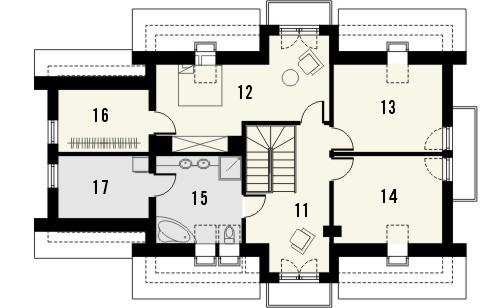 Projekt domu Szmaragd 3 - rzut poddasza