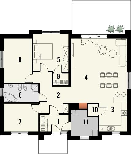 Projekt domu Awans - rzut parteru
