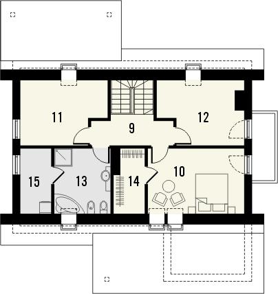 Projekt domu Słowianin - rzut poddasza