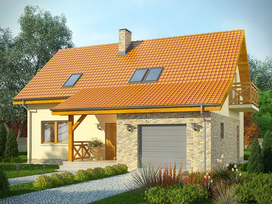 Projekt domu Słowianin - widok 1