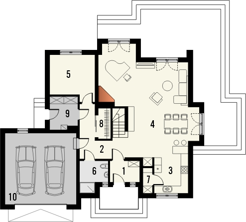 Projekt domu Meritum 2 - rzut parteru