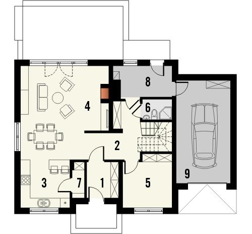 Projekt domu Czar - rzut parteru