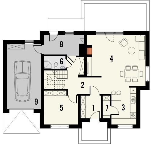 Projekt domu Marzenie - rzut parteru
